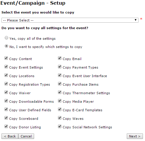 event campaign template event set up frontstream